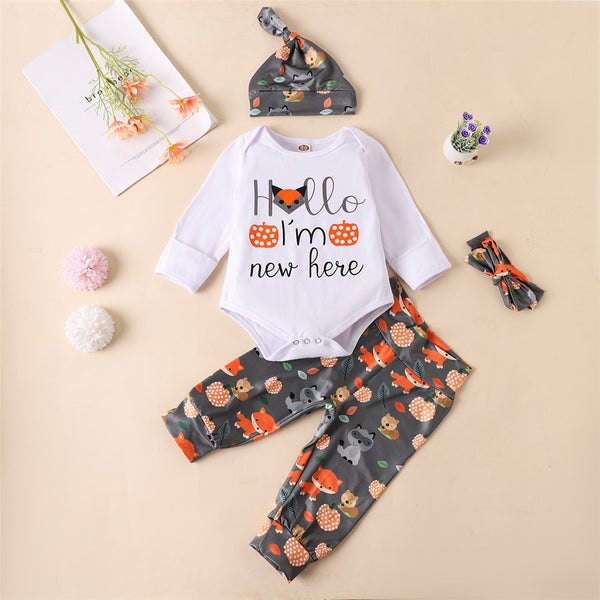 Baby Unisex Cartoon Fox Print Romper & Pants Sets Wholesale Baby Outfits