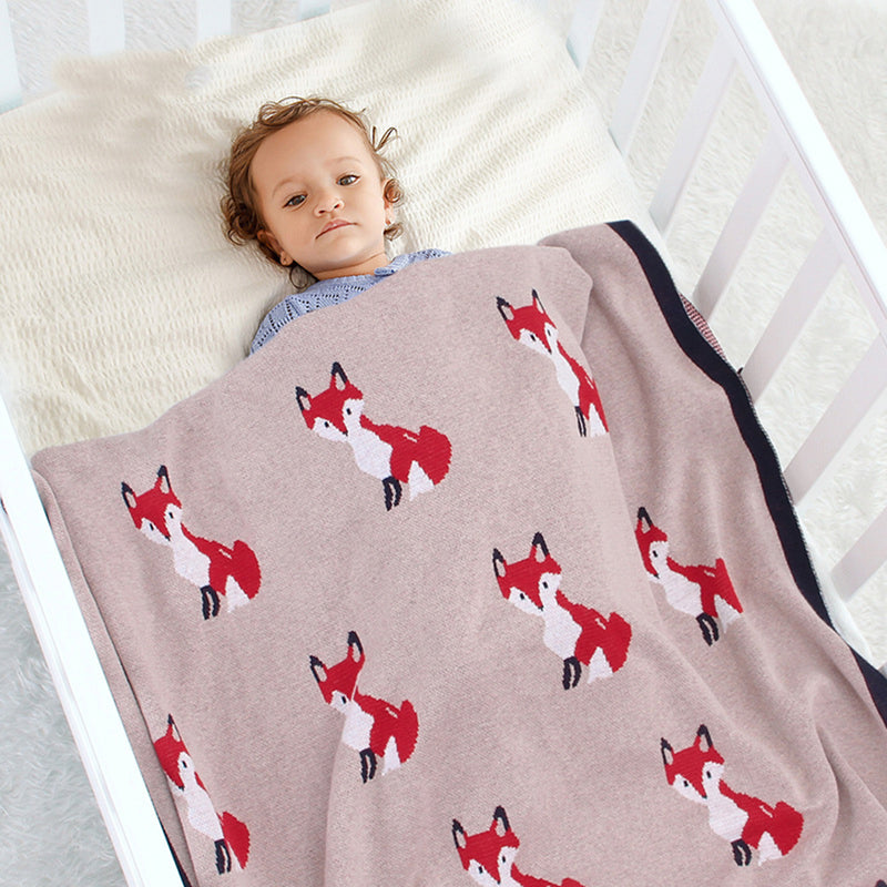 Baby Cartoon Fox Printed Casual Cotton Baby Blankets Wholesale