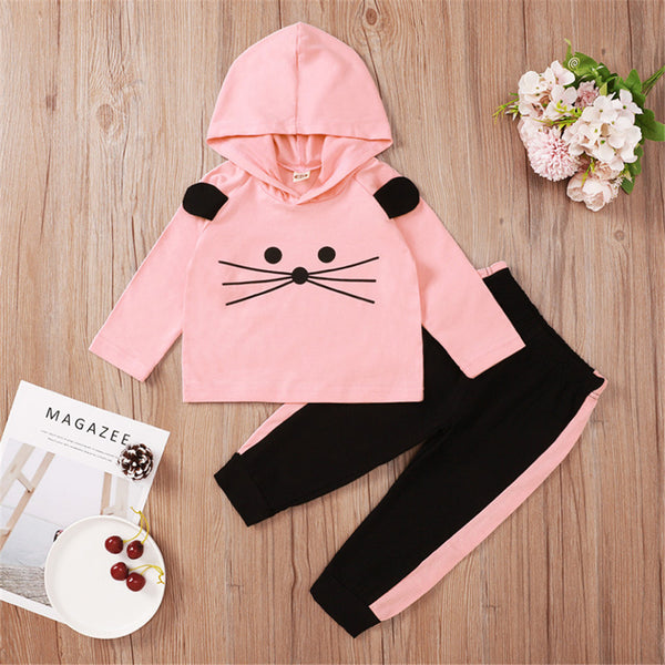 Baby Girls Cartoon Hooded Long Sleeve Top & Pants Wholesale Baby Clothes