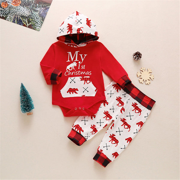 Baby Unisex Cartoon Hooded Romper & Pants Christmas Baby Clothes
