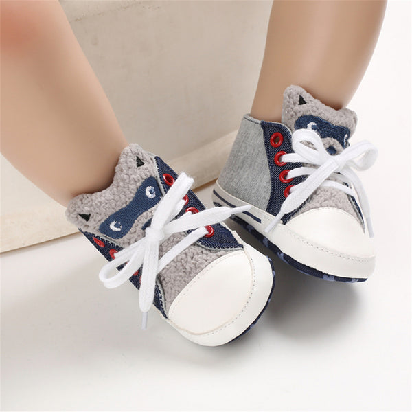 Baby Unisex Cartoon Lace Up Casual Sneakers Baby Boys Winter Shoes