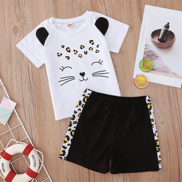 Girls Cartoon Leopard Printed Short Sleeve Top & Shorts Baby Girl Boutique Clothing Wholesale