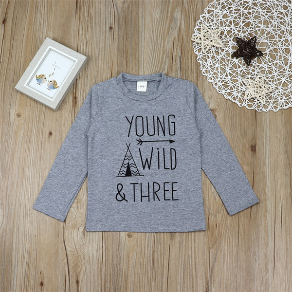 Girls Cartoon Letter Printed Crew Neck Casual Tops Wholesale Kidswear