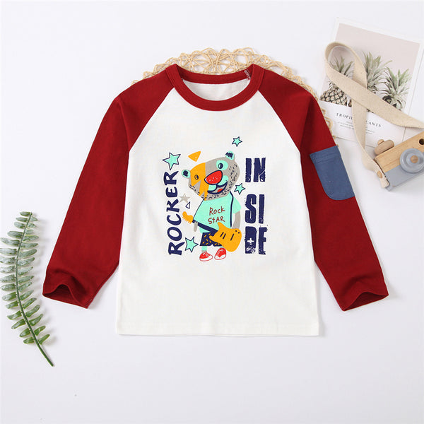 Boys Cartoon Letter Printed Long Sleeve T-shirt Wholesale Boy Clothes
