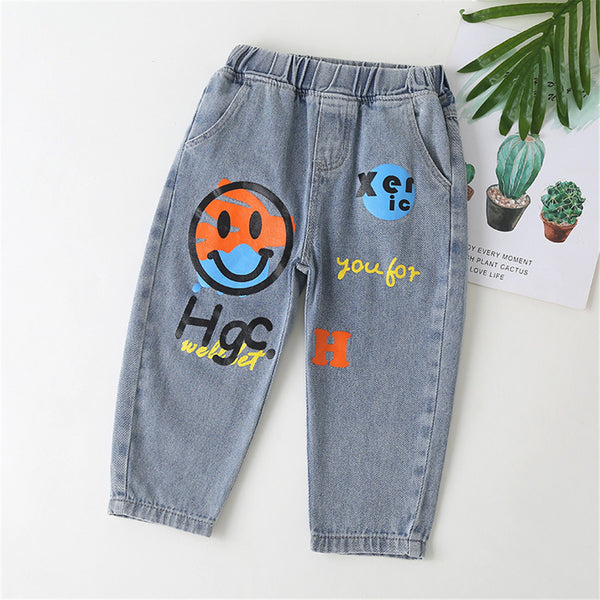 Boys Cartoon Letter Printed Pocket Elastic Waist Pants wholesale kids clothing suppliers