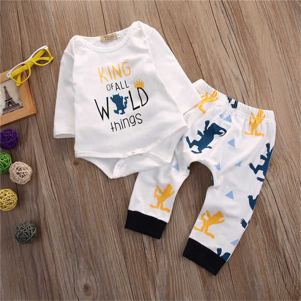Baby Boys Cartoon Letter Printed Rompers & Pants