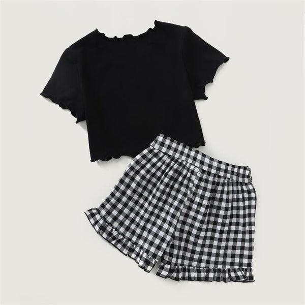 Girls Cartoon Letter Printed Short Sleeve Top & Plaid Shorts children wholesale clothing