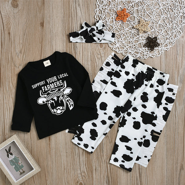 Baby Girls Cartoon Letter Print Top & Pants & Headband Wholesale Baby