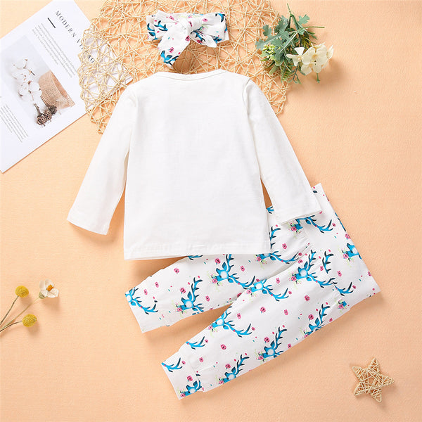 Baby Girls Cartoon Letter Top & Printed Pants & Headband Baby Wholesale