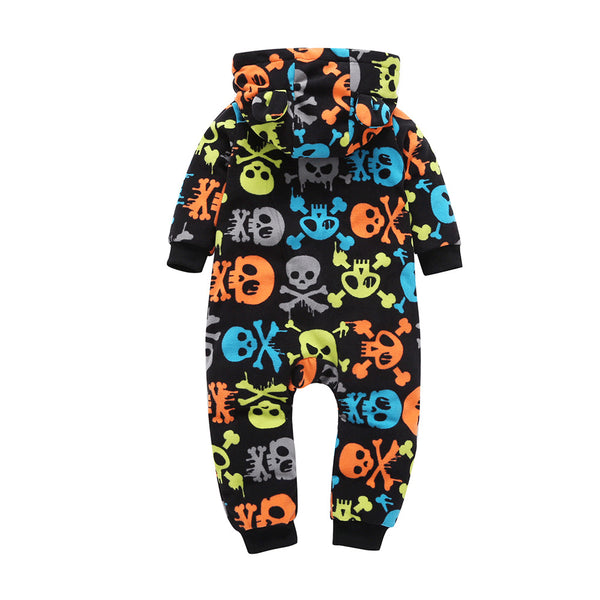 Baby Boys Cartoon Long Sleeve Hooded Romper Baby Clothes Cheap Wholesale