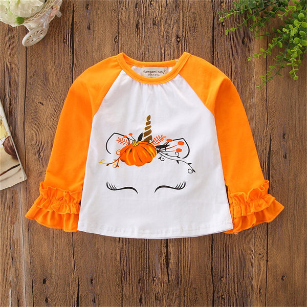 Girls Halloween Cartoon Long Sleeve T-shirt Cheap Baby Girl Clothes Boutique