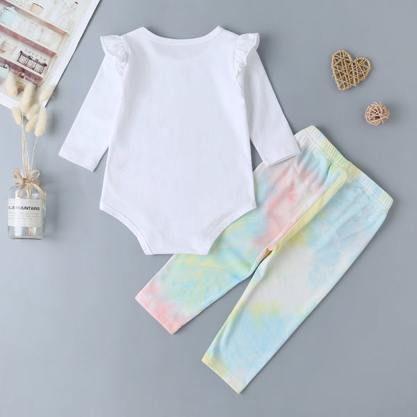 Baby Cartoon Long Sleeve Romper & Tie Dye Pants