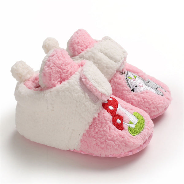 Baby Girls Cartoon Magic Tape Fur Warm Shoes Girls Shoes Wholesale
