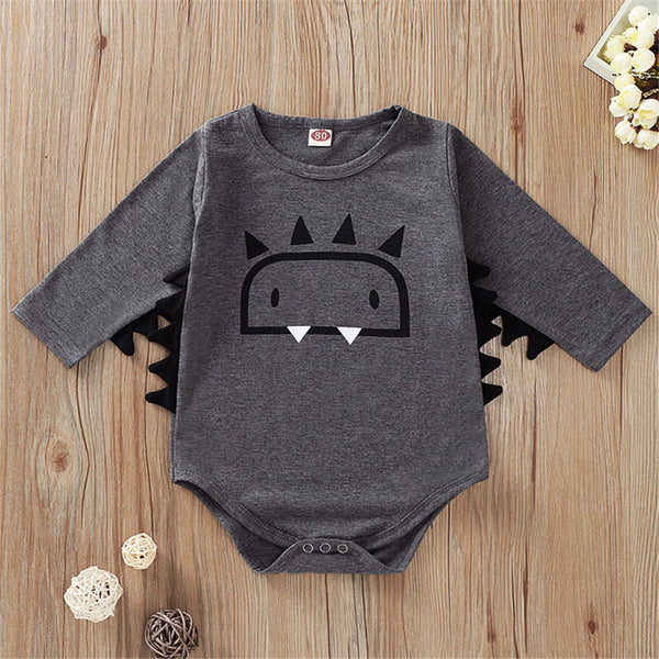 Baby Boys Cartoon Monster Long Sleeve Romper Cheap Baby Clothes In Bulk