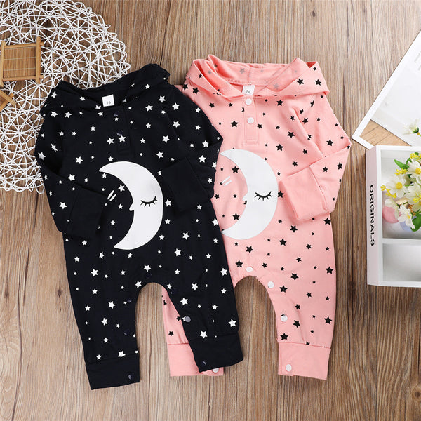 Baby Unisex Cartoon Moon Star Printed Long Sleeve Hooded Romper Wholesale Clothing Baby