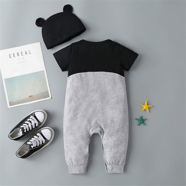Baby Boys Cartoon Panda Color Block Short Sleeve Romper & Hat Wholesale Baby Clothes