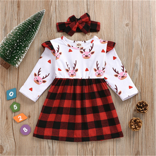 Baby Girls Cartoon Plaid Long Sleeve Dress &Headband Christmas Baby Clothes