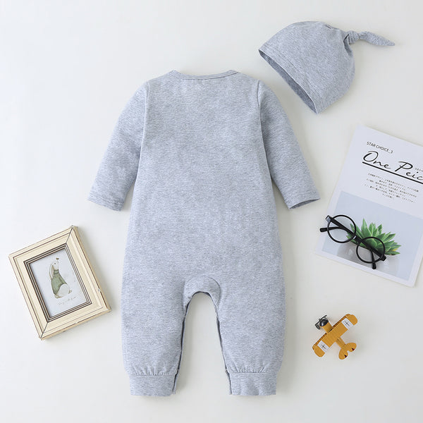Baby Cartoon Pocket Long-sleeve Romper & Hat