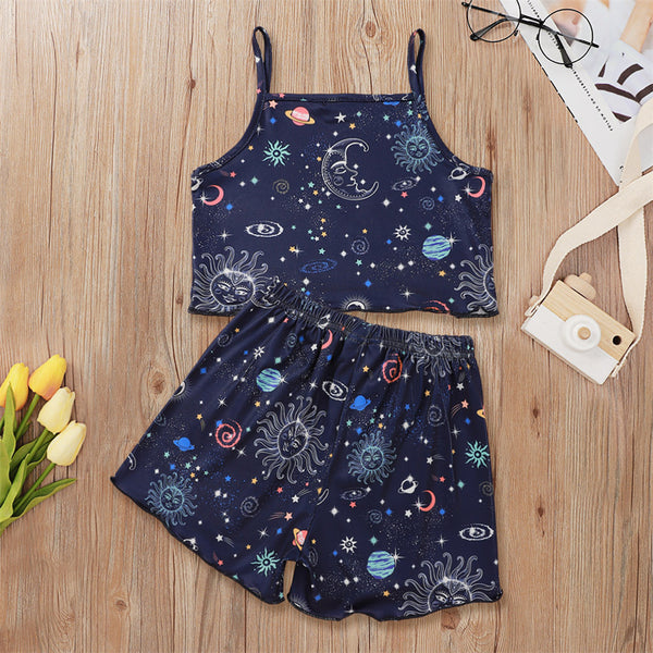 Girls Cartoon Printed Casual Sling Top & Shorts Baby Girl Clothes Wholesale