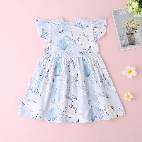 Baby Girls Cartoon Printed Flutter Sleeve Dress Spanish Baby Clothes Wholesale