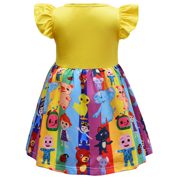 Girls Cartoon Printed Flying Sleeve Dresses wholesale kids boutique clothing