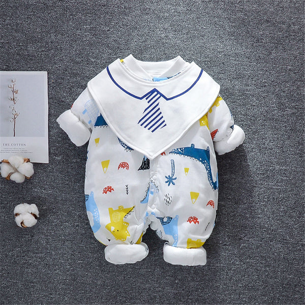 Baby Boys Cartoon Printed Long Sleeve Rompers