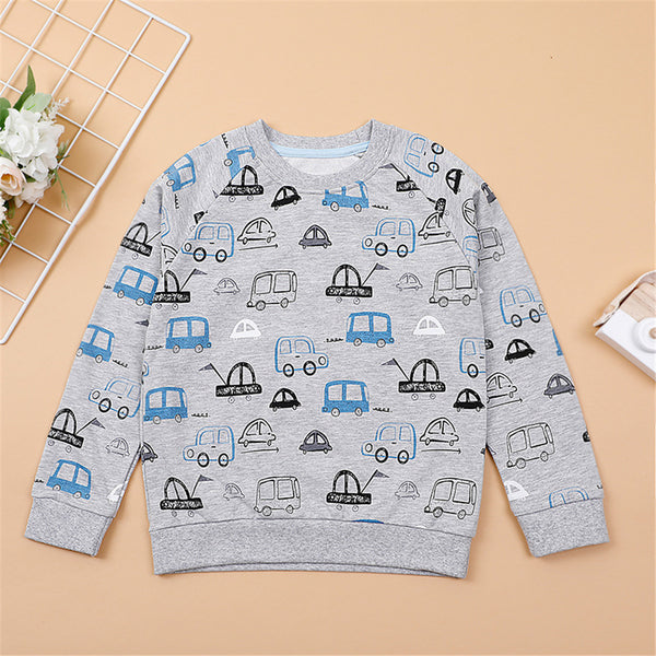 Toddler Boys Cartoon Printed Long Sleeve Tops Wholesale Boy Clothing