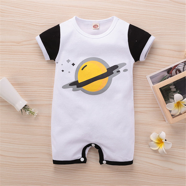 Baby Boys Cartoon Printed Short Sleeve Romper cheap baby clothes online