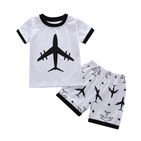 Boys Cartoon Printed Short Sleeve Summer Suits Wholesale Toddler Boy Clothing