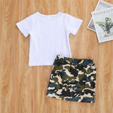 Girls Cartoon Printed Short Sleeve Top & Camo Skirt Girls Boutique Clothes Wholesale