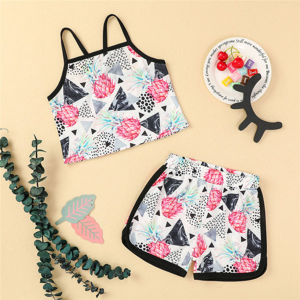 Girls Cartoon Printed Sling Top & Shorts kids clothing wholesale