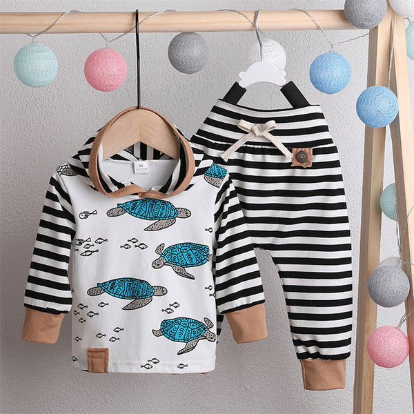 Boys Cartoon Printed Stripe Long Sleeve Tops & Pants