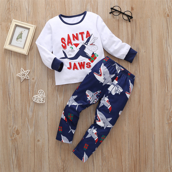 Boys Cartoon Shark Christmas Tops & Trousers Kids Clothing Suppliers