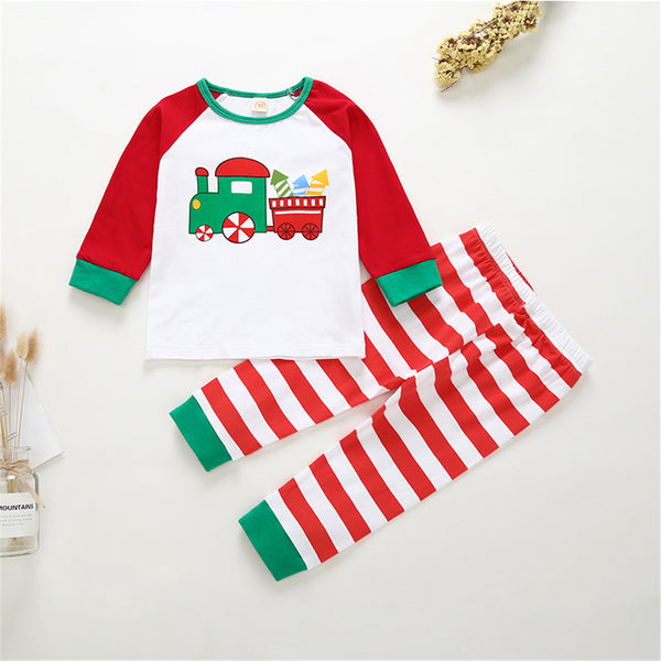 Unisex Cartoon Train Long Sleeve Top & Striped Pants Children Clothes Wholesale