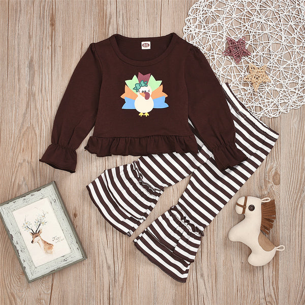 Toddler Girl Cartoon Turkey Top & Stripe Bell Trousers Wholesale Girls