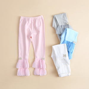 Girls Casual Beading Bow Elastic Waist Pants