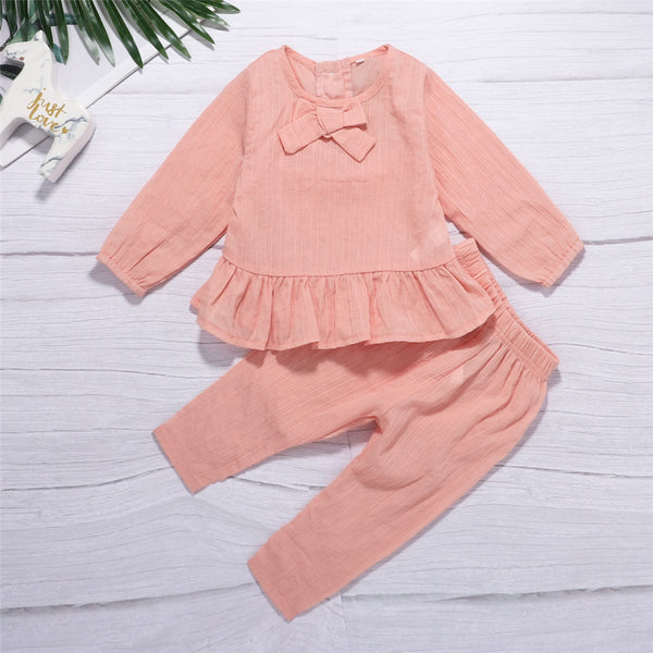 Baby Girls Casual Bow Long Sleeve Top & Pants Wholesale Girl Clothing