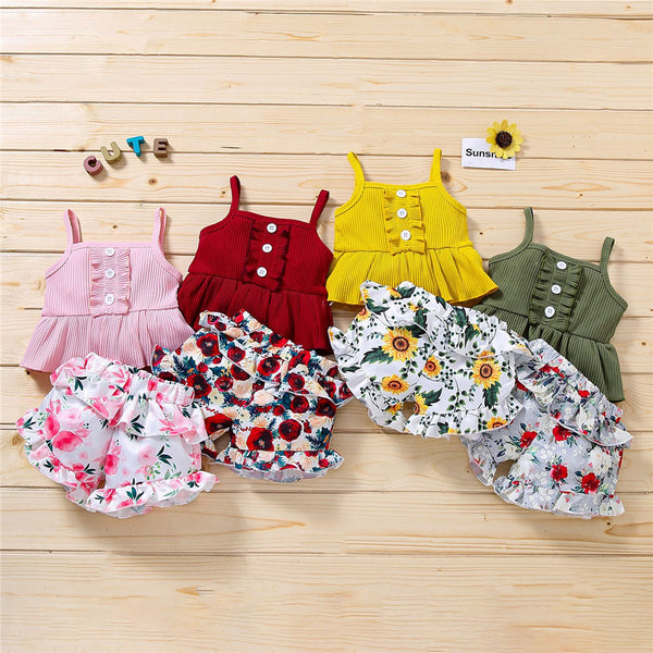 Girls Casual Button Sling Top & Floral Ruffled Shorts wholesale girls clothes