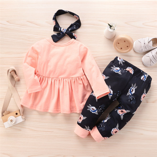Girls Casual Crew Neck Top & Pants & Headband Girls Clothes Wholesale