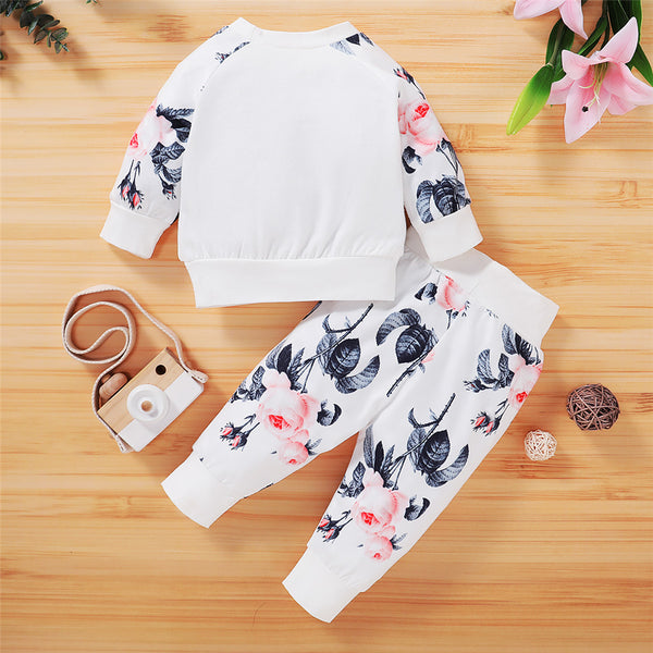 Baby Girls Casual Floral Printed T-shirt & Pants Baby Wholesales