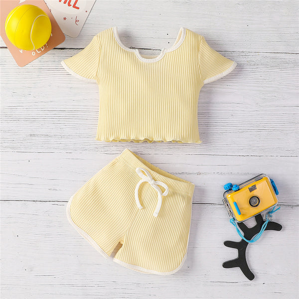Girls Casual Flying Sleeve Top & Shorts kids wholesale clothes