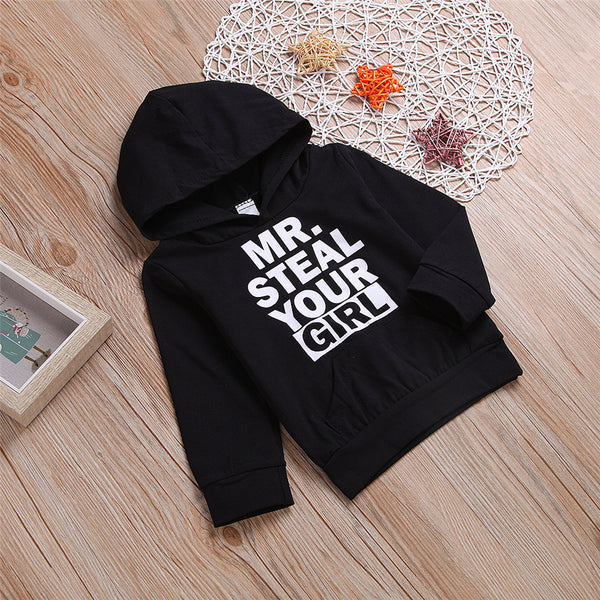 Boys Casual Hooded Long Sleeve Letter Printed Tops Wholesale