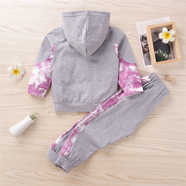 Girls Casual Hooded Tie Dye Long Sleeve Top & Pants Wholesale Girls Clothes