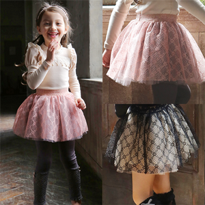 Girls Casual Lace Floral Skirt