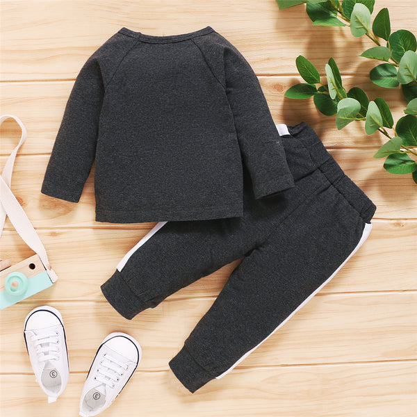 Boys Casual Letter Printed Long Sleeve Top & Pants Wholesale Boys Clothing