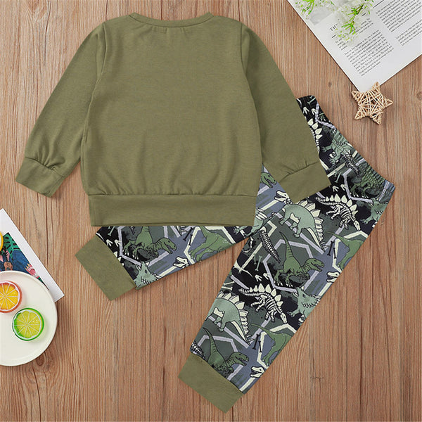 Boys Casual Letter Top & Dinosaur Printed Pants Baby Boys Clothing Wholesale