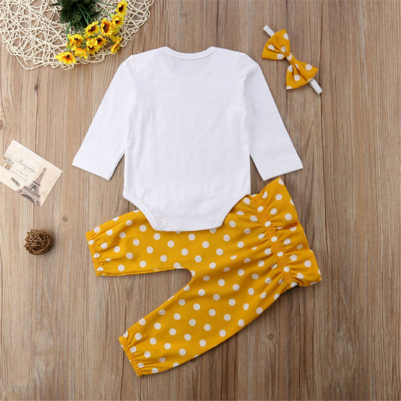 Baby Girls Casual Long Sleeve Letter Printed Romper & Polka Dot Pants & Headband