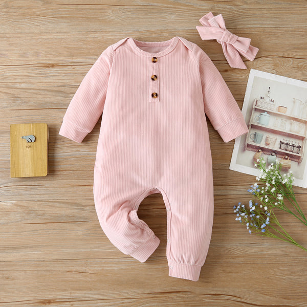 Baby Girls Casual Long Sleeve Romper & Headband Baby Clothes Cheap Wholesale
