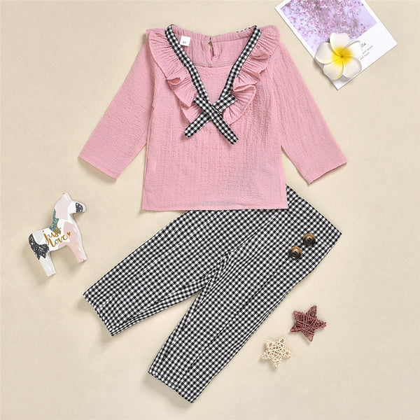 Toddler Girls Casual Plaid Long Sleeve Top & Pants Wholesale Girls