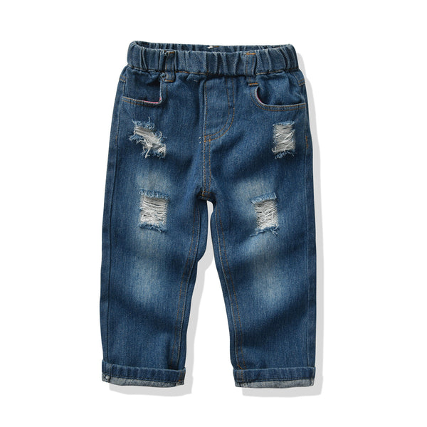 Toddler Boys Casual Pocket Ripped Jeans Wholesale Childrens Clothing